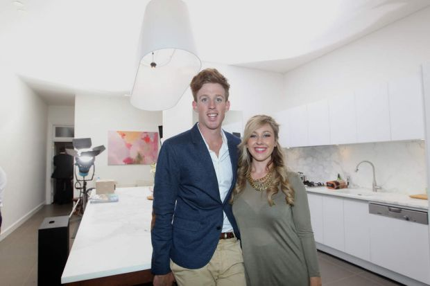 Josh Densten and Jenna Whitehead inside their all white kitchen renovation for The Block: All Stars auction.