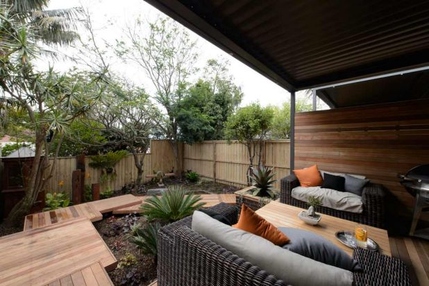 Mark and Duncan's outdoor area on <i>The Block: All Stars</i>.