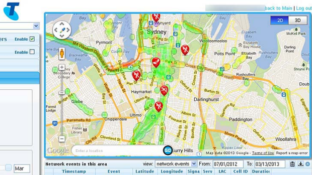 What Telstra's network looks like on My Mobile Coverage after a number of users tested it in Sydney's CBD.