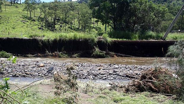 Erosion along a Lockyer Valley riverbank.
