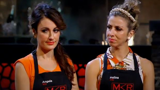 If looks could kill ... Angela, left and Melina, have made no secret of their beef with Ashlee and Sophia during MKR.