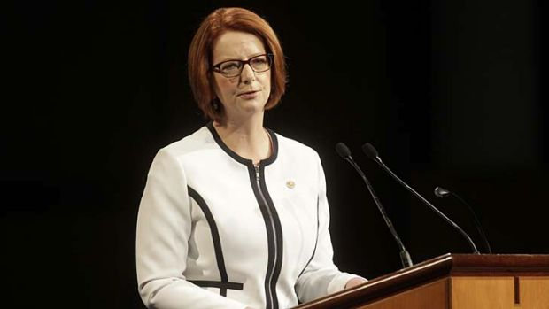 Prime Minister Julia Gillard delivering the national apology to victims of forced adoptions.
