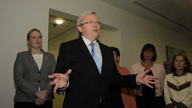"Kevin Rudd arrives for the caucus meeting... ""I take my word seriously."""