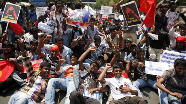 Reverberations on the mainland ... Indian Tamil activists in Chennai protest against Sri Lanka's alleged wartime abuses, ...