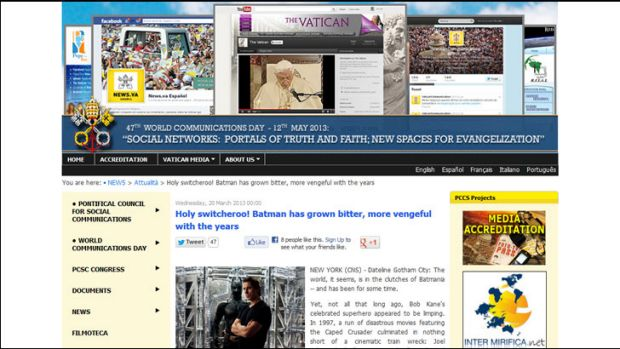 Holy smokes ! ... The Batman story on the Vatican's communications website.