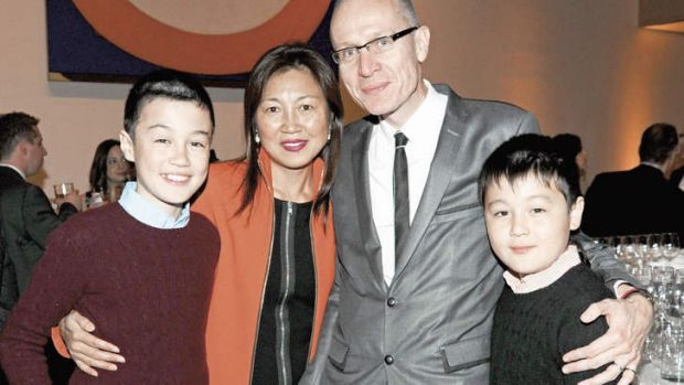 Family affair …Thomson with his wife Wang Pang and sons Luke (at left) and Jack in New York in 2011.