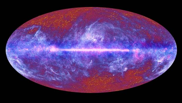 A map of relic radiation (microwave sky) from the Big Bang.