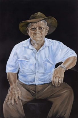 The Archibald Prize 2013 Julie Dowling, Wilfred Hicks Acrylic, red ochre on canvas  152.4 x 110.6cm