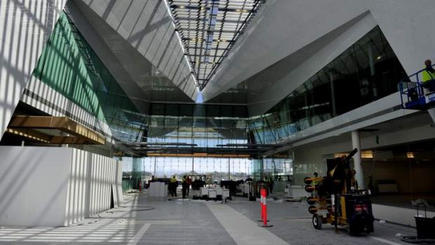 Work continues on the new terminal at Canberra airport.
