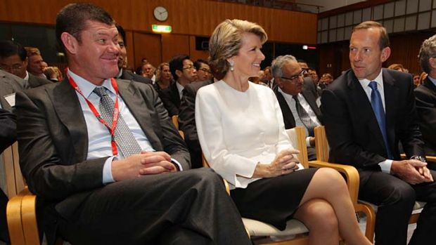 Tertiary talk: James Packer, Julie Bishop and Tony Abbott at a conference on the Coalition's New Colombo Plan on Friday.