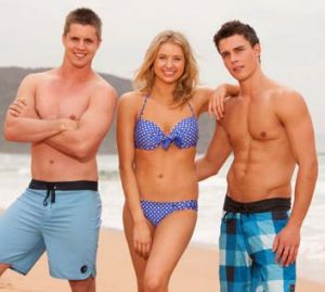 Johnny Ruffo with <em>Home and Away</em> cast mates Kassandra Clementi and Andrew Morley.