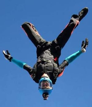 Peter Farley skydives.