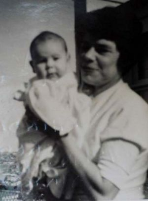 Baby Megan with her mother.