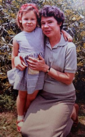 Close bond: A young Mgan with her mother Toni Mitchell.