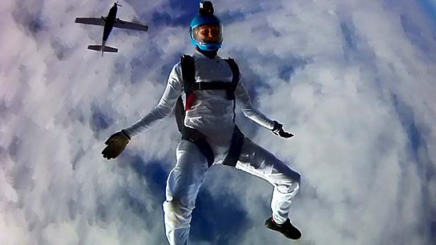 Death from above: Peter Farley skydives at Sydney Skydivers in 2012.