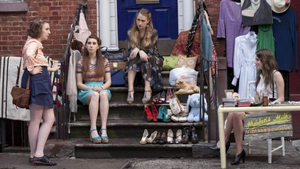 Lena Dunham, left, and the cast of Girls.