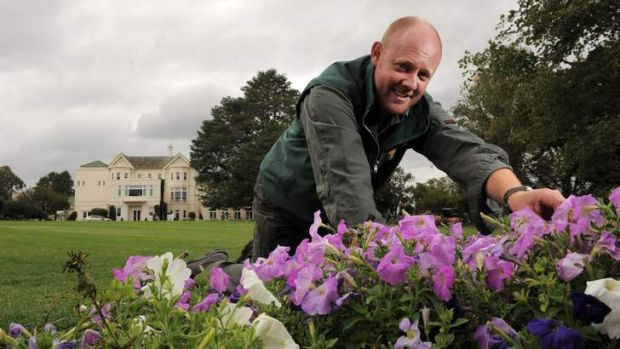 Gardening co-ordinator at Government House, Andrew Thompson, prepares the grounds for Sunday's open day.