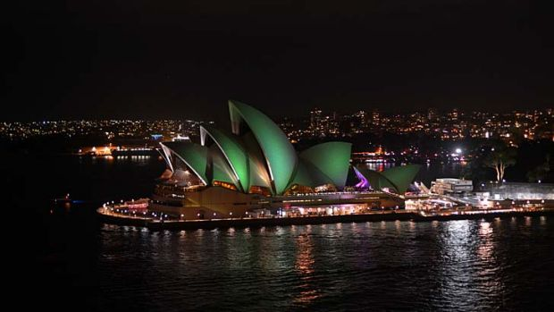 Glowing green: The Sydney Opera House.