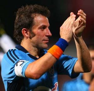 Priceless goal: Alessandro Del Piero thanks the crowd.