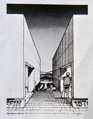 A drawing of the winning sculpture that never reached the construction phase.