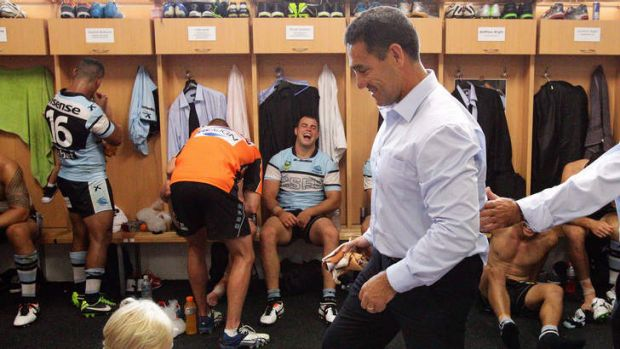 Welcome return: Sharks coach Shane Flanagan watched his club demolish the Warriors.