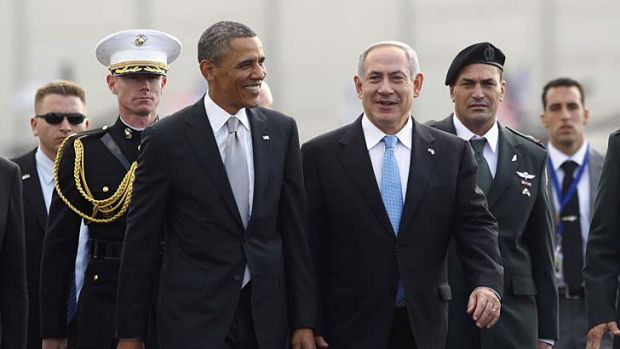 Peace broker: US President Barack Obama participates in a farewell ceremony with Israeli Prime Minister Benjamin Netanyahu.
