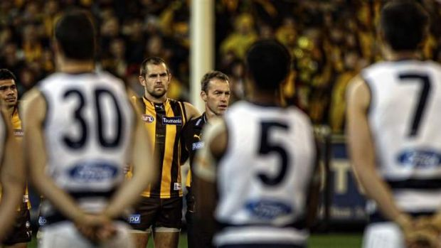 Healthy rivalry: The Geelong and Hawthorn players will again face off next Monday.
