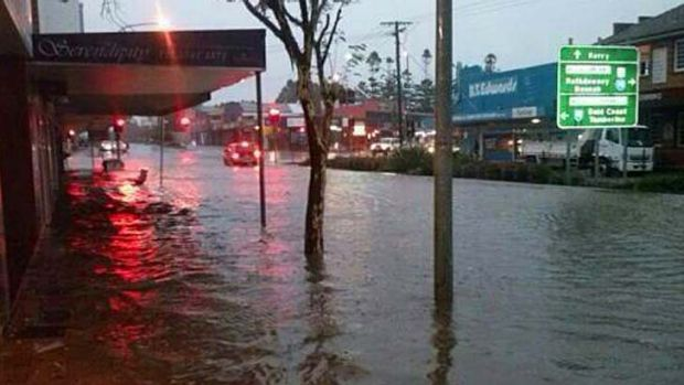 Flash flooding in Brisbane Street, Beaudesert, on Sunday afternoon.