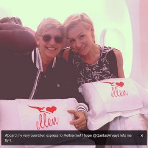 Snap-happy: Ellen and Portia with their personalised pillows.