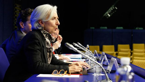 International Monetary Fund (IMF) executive director Christine Lagarde ... at the news conference at the European ...