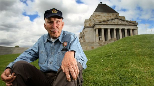 Edwin Cole Bearrs at the Shrine of Remembrance in Melbourne.