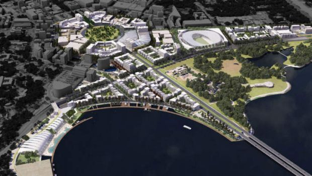 An aerial view of the ACT Government's City to the Lake plan.