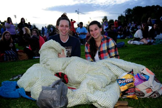 Hannah O'Donnell and Lisa Minchington came last night from the Mornington Peninsula to be at Birrarung Marr, Melbourne.