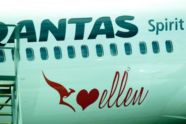 Arriving in style... Ellen DeGeneres and Portia de Rossi's Qantas plane at Tullamarine airport.