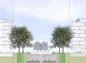 An image from a video provided by the Economic Development Directorate showing how Parkes Way would run as a ...