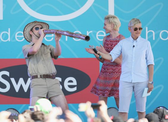 A didgeridoo welcome for Ellen DeGeneres and her wife Portia de Rossie at Birrarung Marr in Melbourne.