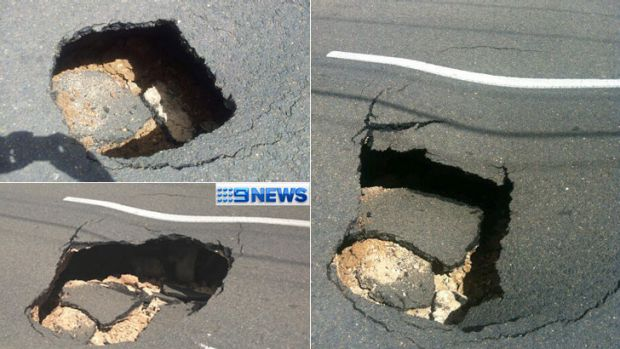 A sink hole measuring two metres by two metres has opened up in Ipswich. Photos (clockwise, from top left) from Channel ...