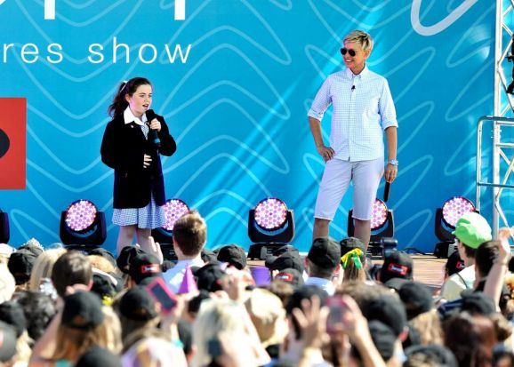 Ellen DeGeneres recording The Ellen Show in melbourne. Georgia Perry is 10 years old and Ellen discovered her at her ...