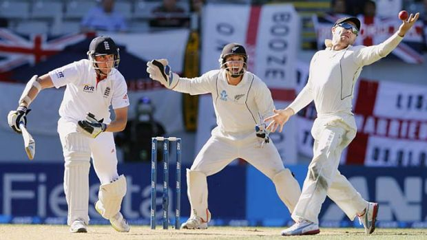 New Zealand captain Brendon McCullum misses a catch off England's Stuart Broad late on the final day.