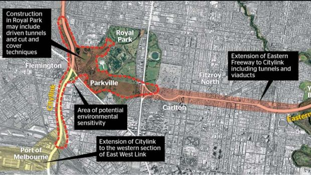 The proposed freeway link.
