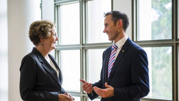 Andrew Leigh talks to Jan McLucas at Parliament House as she hands over the duties of Parliamentary Secretary to the ...
