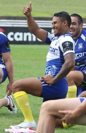 Thumbs up: Ben Barba has been named to make his return for the Bulldogs on Friday night.