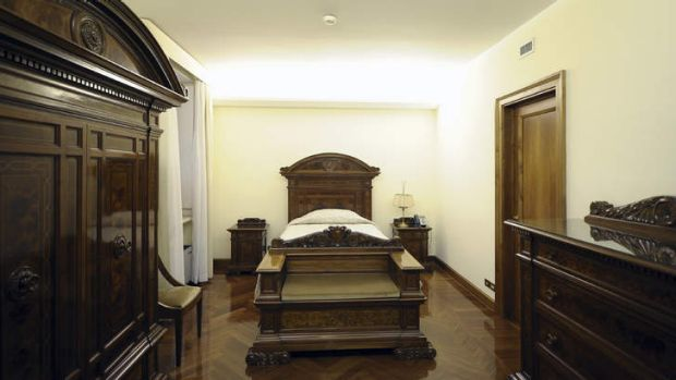 Modest ... the bedroom of the suite at the Vatican's Santa Marta hotel where Pope Francis stayed immediately after his ...