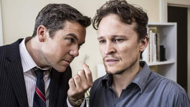 Barbed punchlines: Patrick Brammall and Damon Herriman in <i>The Elegant Gentleman's Guide to Knife Fighting</i>.