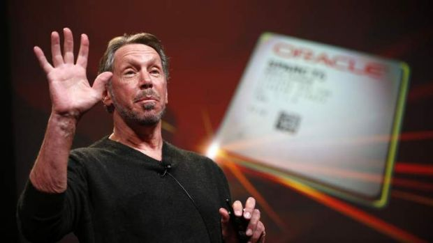 Co-founder and Chief Executive of Oracle, Larry Ellison introduces the company's latest SPARC servers in California ...