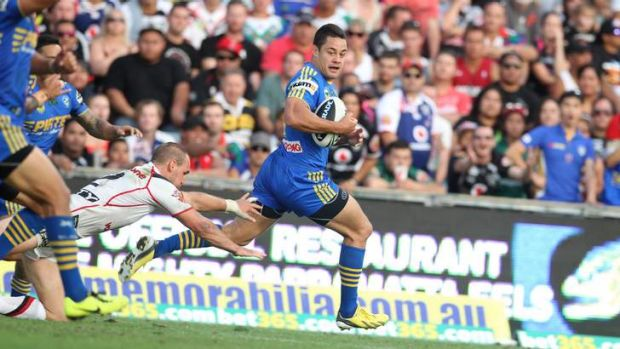 Flying ... Jarryd Hayne has signed a new deal with Parramatta.