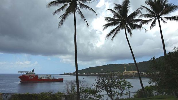 On standby: Australian Customs and Border Protection Service vessel Ocean Protector on Christmas Island.