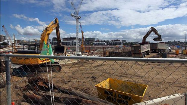 Under way: Work continues at Barangaroo as the government and Lend Lease square off in the NSW Supreme Court.