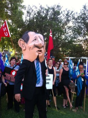 A caricature of Health Minister Lawrence Springborg at the rally to protest the closure of the Brisbane Sexual Health ...