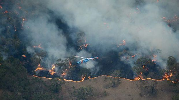 An aerial view of the fire at Dereel.